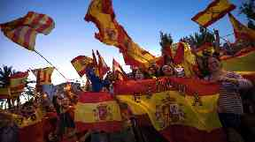 Pro-unity supporters in Catalonia came out to support the move for direct rule.