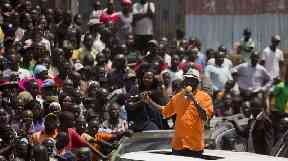 Raila Odinga (orange) boycotted the election.