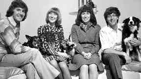 Peter Purves, Lesley Judd, Valerie Singleton and John Noakes with dog Shep in 1972.