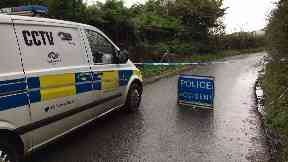 Crosslee Farm: Four man made off in a van from the scene.