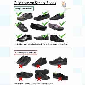 The school's guidance on footwear deemed suitable or inappropriate.