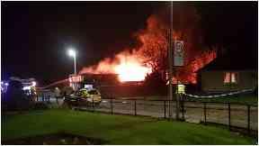 School blaze: Flames engulfed building.