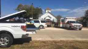 Ambulances outside the First Baptist Church in Sutherland Springs