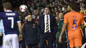 Malky Mackay looks on as Scotland lose 1-0 to Holland.