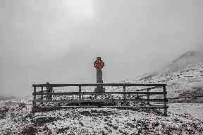The memorial near Pitlochry on a snowy day.