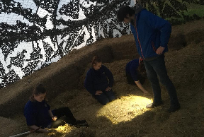 Staff at the farm aided in the search into the night.
