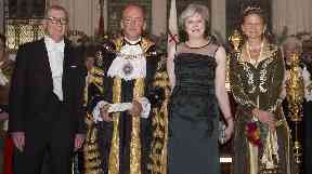 Prime Minister Theresa May and her husband Philip with new Lord Mayor of London Charles Bowman and wife Samantha