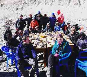 The team hiked to the base camp at Mount Everest.