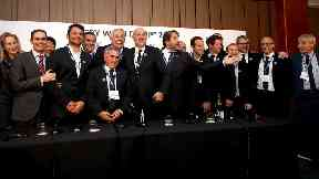 France 2023 bid team members during the 2023 Rugby World Cup host union announcement.