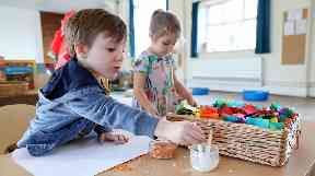 Children at Tops Day Nursery in Christchurch, Bournemouth, use rice and lentils in place of glitter.