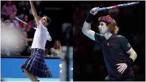 Murray: British number one takes on kilted Federer.