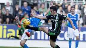 John McGinn in action for Hibs against St Johnstone.