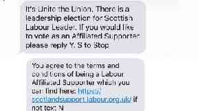Text: Thousands of messages were sent by Unite.