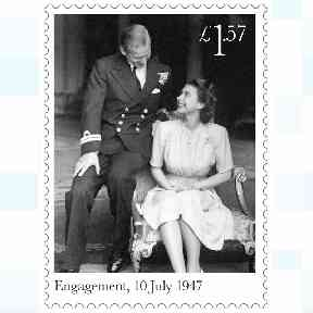 The stamps celebrate the engagement, wedding and honeymoon.