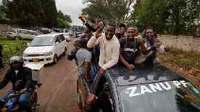 Demonstrators gathered in the capital Harare on Saturday.