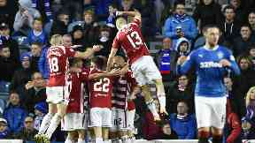 Hamilton Accies celebrate David Templeton's opener at Ibrox.