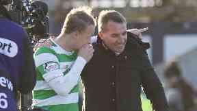 Leigh Griffiths and Brendan Rodgers at the full time whistle in Dingwall.