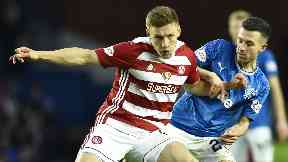Football: Greg Docherty in action against Rangers in November last year.