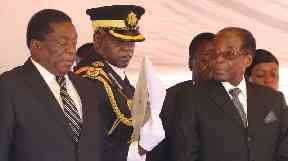 Emmerson Mnangagwa and Robert Mugabe at a gathering in early November.
