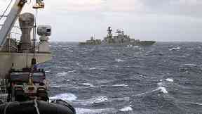 Russian destroyer: Vice Admiral Kulakov seen from HMS Somerset.