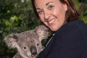Down under: Kezia Dugdale cuddled up to a koala before entering the show.