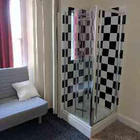 Shower inside living room