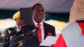 Emmerson Mnangagwa is sworn in as President of Zimbabwe.