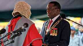 Emmerson Mnangagwa is sworn in as President of Zimbabwe.