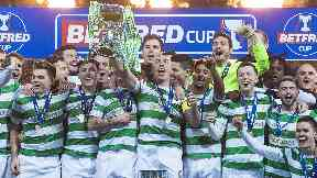 Victory: Celtic lifted the League Cup again.