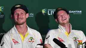 Bancroft (left) and Steve Smith (right) laugh off the alleged incident.