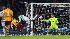 Save: Craig Gordon denies Motherwell's Louis Moult.