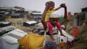 Child Rohingya refugees in Jamtoli refugee camp in Bangladesh.