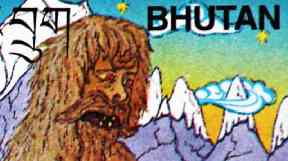 A Bhutanese stamp with a drawing of the Yeti in New Dehli, India.