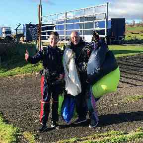 Ryan completed a skydive to raise money despite his fear of heights.