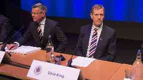 Questions: King addressed shareholders at the club's AGM.