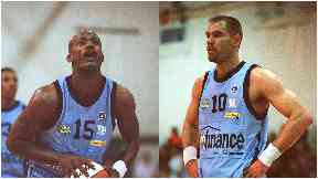 Shooting hoops: Edinburgh Rocks players Michael New and Brendan Graves in 1999.