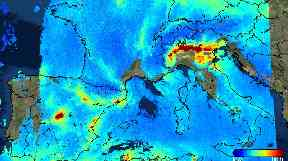 Sentinel-5P sees nitrogen dioxide over Europe.