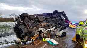 The driver was taken to hospital with serious injuries.
