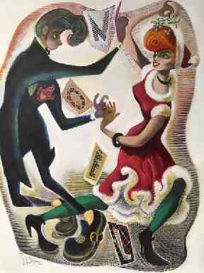 Christmas card: Designed by artist and playwright John Byrne.