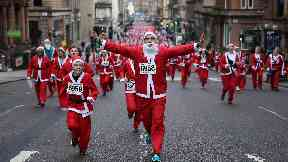 Fun run: Thousands of Santas took part in the 2016 race.