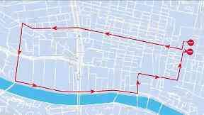 Route: The map shows where the Santa's will run.