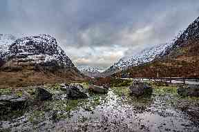 A winter's day looking towards the Three Sisters at Glencoe.