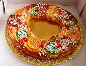 Roscón de Reyes is traditionally eaten on Epiphany in Spain.