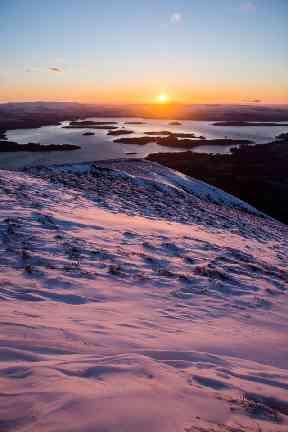 Looking down on Loch Lomond.