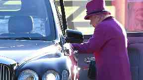The Queen arrived for the service by car.