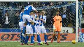 Kilmarnock's Kris Boyd (centre) celebrates with his team-mates after putting his side ahead against Rangers.