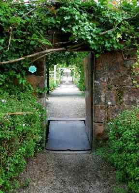 An enchanting garden doorway in Brodick Castle gardens.