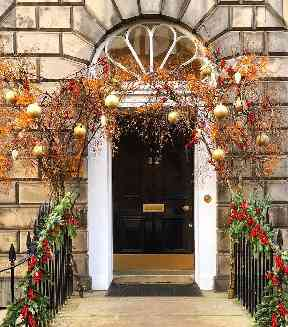 An Edinburgh doorway gets a festive makeover.
