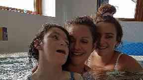 Miya Thirlby (left) with her mum Kerrie and twin Macie