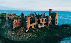 Aerial shot of New Slains Castle in Aberdeenshire.